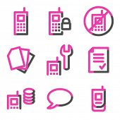 Mobile phone 2 web icons, pink contour series