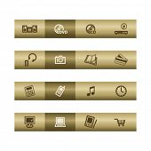 Electronics web icons on bronze bar. Vector file has layers, all icons in two versions are included.