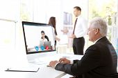 Man video conferencing with lawyer on computer. Video call and online service concept. poster