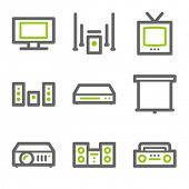 Audio video web icons, green and gray contour series
