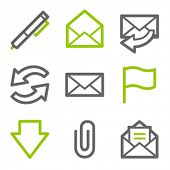 E-mail web icons, green and gray contour series