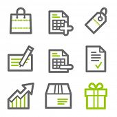 Shopping web icons, green and gray contour series