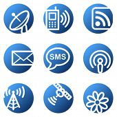 Communication web icons, blue circle series