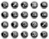 Medicine web icons, black glossy circle buttons series