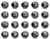 Shopping web icons, black glossy circle buttons series