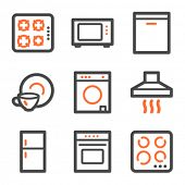 Home appliances web icons, orange and gray contour series