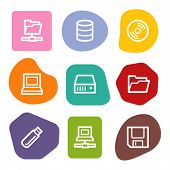 Drives and storage web icons, colour spots series