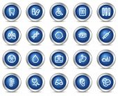 Medicine web icons, blue circle buttons series