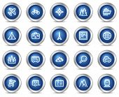 Travel web icons, blue circle buttons series