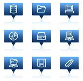 Drives and storage web icons, blue speech bubbles sticker series
