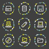 Drives and storage web icons, color dots series