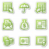 Banking web icons, green contour sticker series