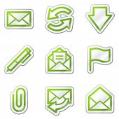 E-mail web icons, green contour sticker series