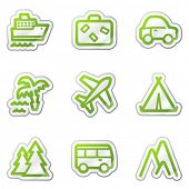 Travel web icons, green contour sticker series