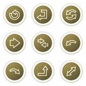Arrows web icons set 1, brown circle buttons series