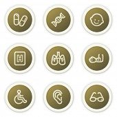 Medicine web icons set 2, brown circle buttons series