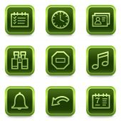 Organizer web icons, green square buttons series