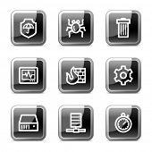 Internet segurança web ícones, botões de preto brilhante quadrado série