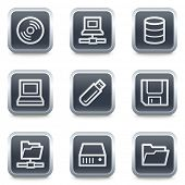 Drives and storage web icons, grey square buttons