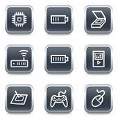 Electronics web icons set 2, grey square buttons