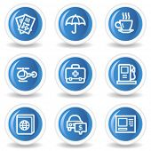 Travel web icons set 4, blue glossy circle buttons