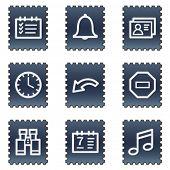 Organizer web icons, navy stamp series