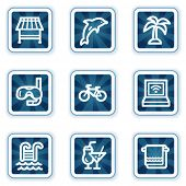 Vacation web icons, navy square buttons