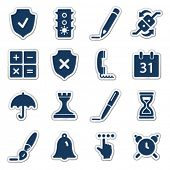 Software web icons, navy sticker series