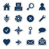 Basic web icons, navy sticker series