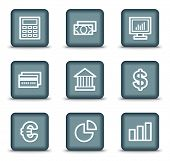 Finance web icons set 1, grey square buttons