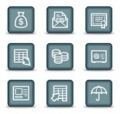 Banking web icons, grey square buttons