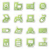 Computer und Elektronik Web-Icons-set 2, grüne Aufkleber-Serie