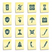 Software web icons, yellow notes stickers