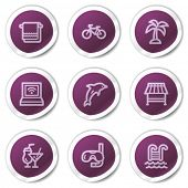 Vacation web icons, purple stickers series