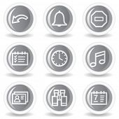 Organizer web icons, circle grey glossy buttons