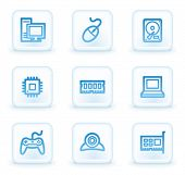 Computer  web icons, white square buttons