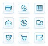 Einkaufen Web-Icons-Set 2, weiß, quadratische Tasten