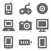Electronics web icons, grey solid series