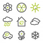Ecology web icons set 2, green and gray contour series