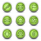 E-mail web icons, green glossy set