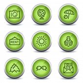 Travel web icons set 5, green glossy set