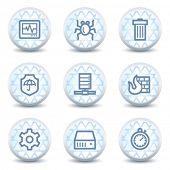 Internet segurança web ícones, botões de círculo brilhante