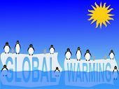 image of global-warming  - global warming with penguins on icebergs illustration - JPG