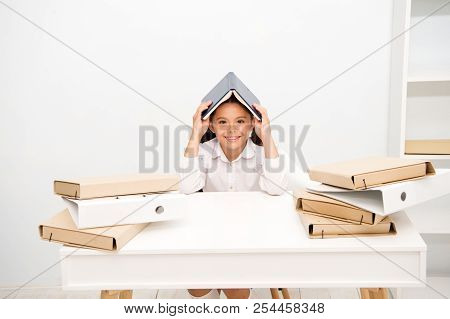 poster of How To Stay Positive And Manage Tasks. Girl Child Book Roof Head White Background. Schoolgirl Stay P