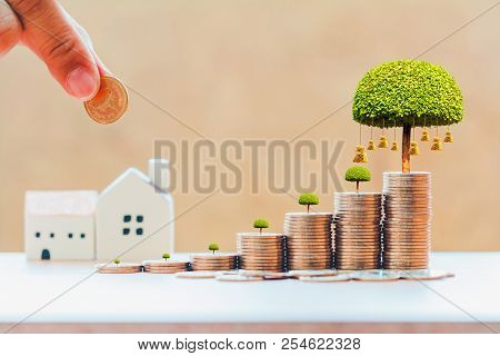 poster of Businessman Hand Hold A Coin To Stack And Money Bag Of Tree With Grow And Home For Family In Office,