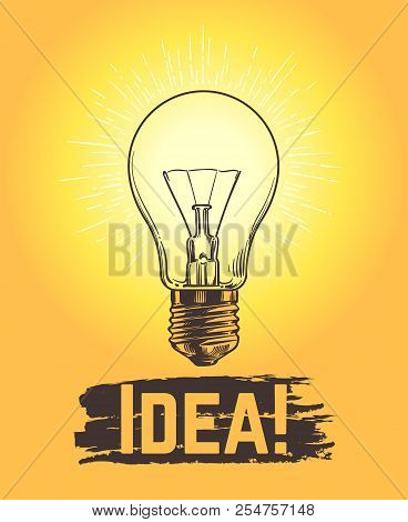 poster of Sketch Light Bulb. New Business And Creative Idea Vector Concept With Hand Drawn Lamp. Illustration