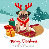 Christmas Pug Dog Cartoon Illustration. Cute Pug Puppy Wearing Red Scarf And Antlers Sitting On Tobo poster