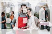 Man And Woman Outside Barbecue Sausage Cooking. Nature Activity. Outside Relaxing Concept. Smiling F poster