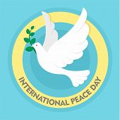 Pigeon Olive Branch Peace Background. Flat Illustration Of Pigeon Olive Branch Peace Vector Backgrou poster