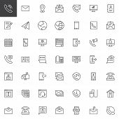 Contact Us Outline Icons Set. Linear Style Symbols Collection, Line Signs Pack. Vector Graphics. Set poster